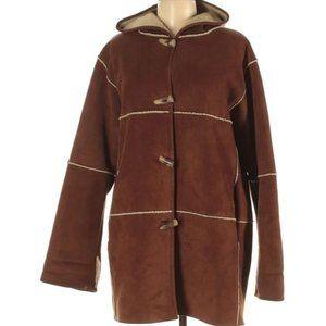 Ralph Lauren Sherpa Lined Hooded Suede Coat